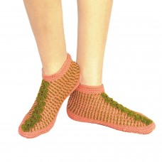Pink and green handknitted socks shoes