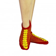Red and yellow handknitted socks shoes