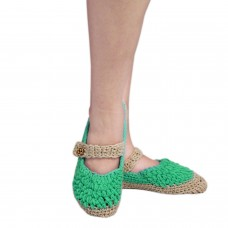 Green and beige handknitted socks shoes