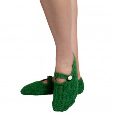 Green handknitted socks shoes