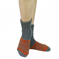 Grey and orange handknitted kullu socks