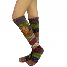 Multicolor long handknitted woolen socks