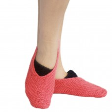 Pink and black handknitted socks shoes
