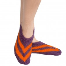 Purple and orange handknitted socks