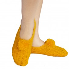 Bright yellow hand knitted socks shoes