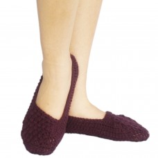 Dull purple hand knitted socks shoes