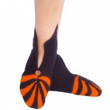 Dark blue and orange handknitted socks