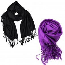 VR Designers classic viscose black and purple scarfs (Pack of 2)