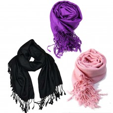 Classic Viscose Black,  Pink and Purple Scarfs (Pack of 3)