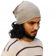 Basic Grey jersey knit beanie cap