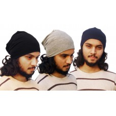 Pack of three basic solid beanie caps