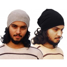 Pack of two basic solid beanie caps