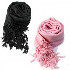 Pack of two classic black and pink scarfs