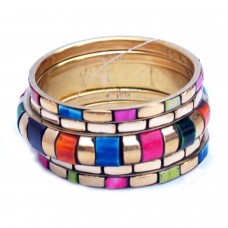 Colourful Metallic Bangle Set