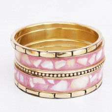 Metallic Golden and Pink Bangle Set
