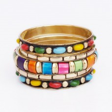 Metallic Golden and Colourful Bangle Set