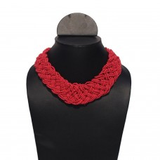 Contemporary red seed bead necklace