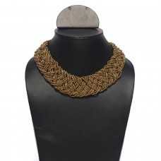 Contemporary Brown Seed Bead Necklace