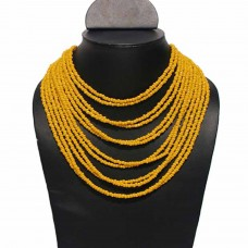Contemporary Yellow Multi Bead Necklace