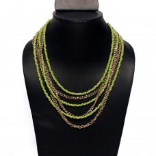 Contemporary Green Chain And Beads Necklace