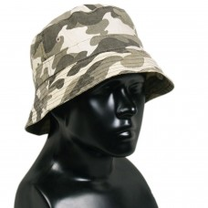 Dark Grey Camo Army Print Bucket Sun Hat