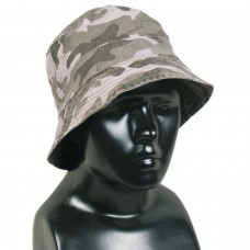 Light Grey Camo Army Print Bucket Sun Hat