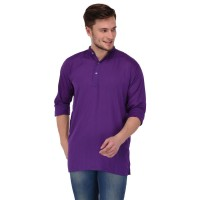 Stylish Solid purple Rayon Short Kurta for men