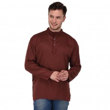 Stylish Solid brown Rayon Short Kurta for men