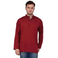 Stylish Solid maroon Rayon Short Kurta for men
