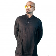 Holi Special Black Rayon Kurta, with Sunglasses