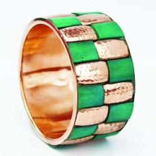 Metallic wide golden and green kada