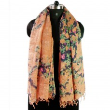 Printed orange linen scarf