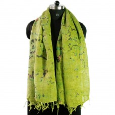Printed green linen scarf