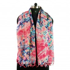 Printed pink linen scarf