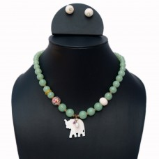 Elegant elephant charm necklace set