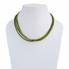 Multistrand green beads wire necklace