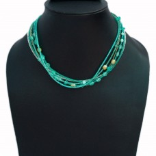 Multistrand blue and green beads wire necklace
