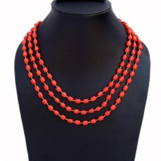 Triple strand red glass bead necklace