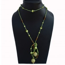 Long green knot necklace