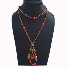 Long yellow and red knot necklace