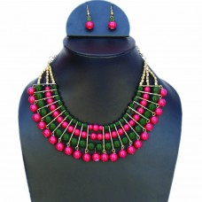 Elegant red and green necklace set