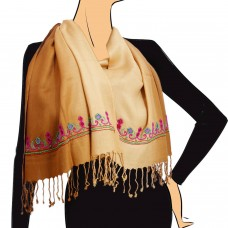 Victorian Yellow Ombre Embroidered Scarf