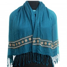 Victorian Pursian Blue Ombre Embroidered Scarf