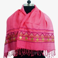 Victorian Pink Ombre Embroidered Scarf