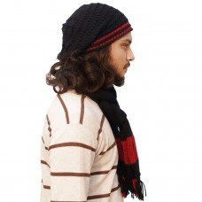 Stylish Black and Red handmade Muffler and Rasta Cap