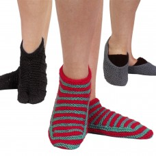 Set of three handknitted footie socks