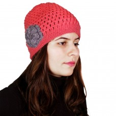 Delicate strawberry pink handknitted crochet cap