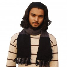 Black and grey classic muffler with fringes