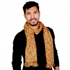 Multicolor stylish handknitted muffler with fringes