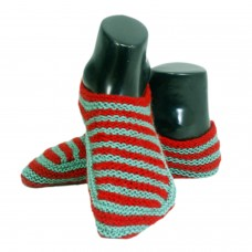 Classic red and green hand knitted socks shoes